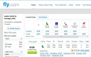 Austin-Chicago: Fly.com Search Results