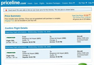 Austin-Chicago: Priceline Booking Page