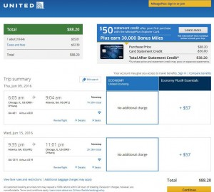 Chicago-Atlanta: United Airlines Booking Page