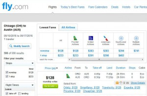 Chicago-Austin: Fly.com Search Results