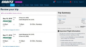 Chicago-Austin: Orbitz Booking Page