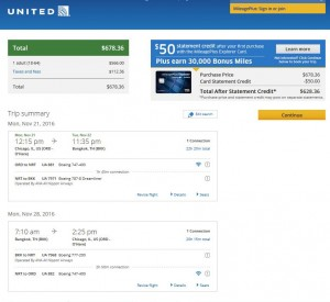 Chicago-Bangkok: United Airlines Booking Page