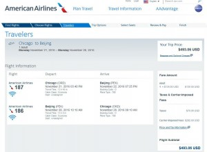 Chicago-Beijing, China: American Airlines Booking Page