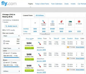 Chicago-Beijing, China: Fly.com Search Results
