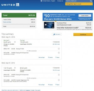 Chicago-Copenhagen: United Airlines Booking Page