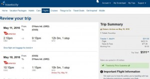 Chicago-Kahului, Maui: Travelocity Booking Page