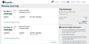 Chicago-Las Vegas: Expedia Booking Page