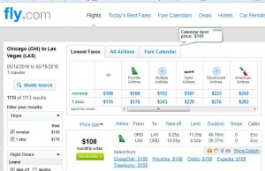 Chicago-Las Vegas: Fly.com Search Results