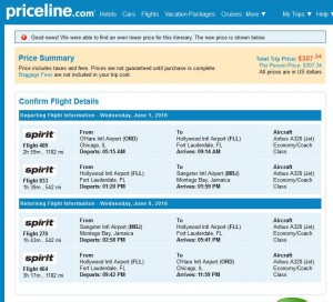 Chicago-Montego Bay: Priceline Booking Page