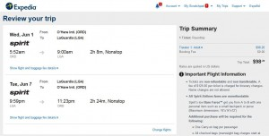 Chicago-New York City: Expedia Booking Page