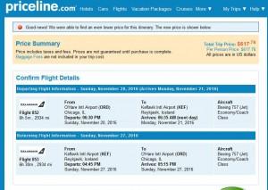 Chicago-Reykjavik: Priceline Booking Page