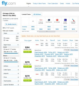 Chicago to Mexico City: Fly.com Results