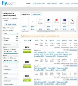 Chicago to Mexico City: Fly.com Results