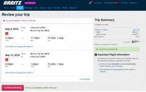 Chicago to Mexico City: Orbitz Booking Page
