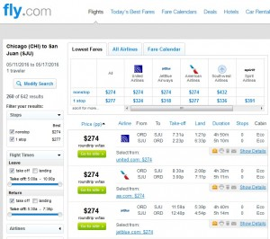 Chicago to San Juan: Fly.com Results
