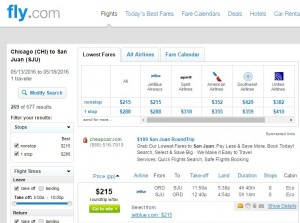 Chicago to Puerto Rico: Fly.com Results