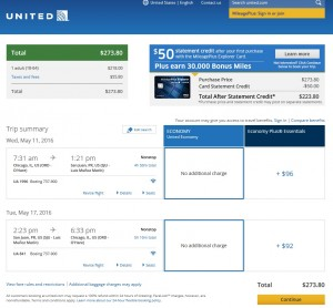 Chicago to San Juan: United.com Booking Page
