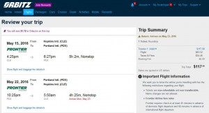 Cleveland-Portland: Orbitz Booking Page