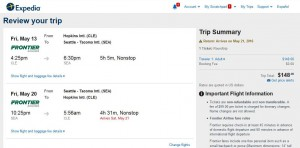 Cleveland-Seattle: Expedia Booking Page