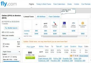 Dallas-Boston: Fly.com Search Results