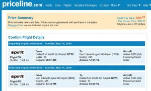 Dallas-Boston: Priceline Booking Page