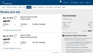 Dallas-Boston: Travelocity Booking Page