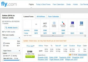 Dallas-Cancun: Fly.com Search Results