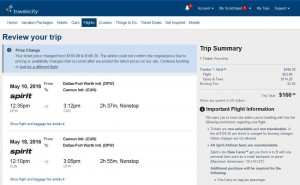 Dallas-Cancun: Travelocity Booking Page