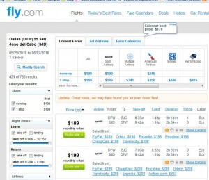 Dallas-Los Cabos: Fly.com Search Results ($198)