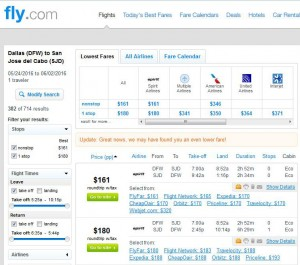 Dallas-Los Cabos: Fly.com Search Results