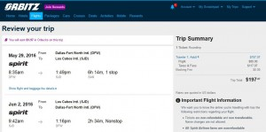 Dallas-Los Cabos: Orbitz Booking Page ($198)