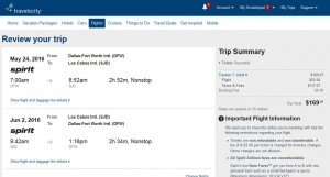 Dallas-Los Cabos: Travelocity Booking Page