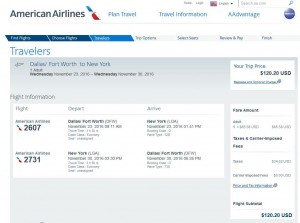 Dallas-New York City: American Airlines Booking Page