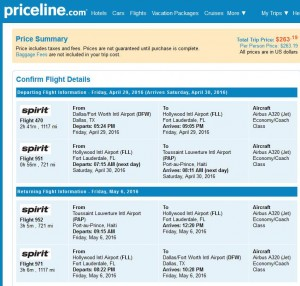 Dallas-Port-au-Prince: Priceline Booking Page ($264)