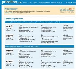 Dallas-Port-au-Prince: Priceline Booking Page
