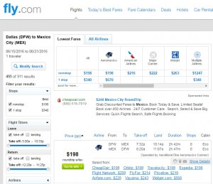 Dallas to Mexico City: Fly.com Results