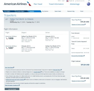 Dallas to Orlando: American Airlines Booking Page