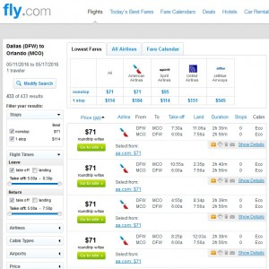 Dallas to Orlando: Fly.com Results