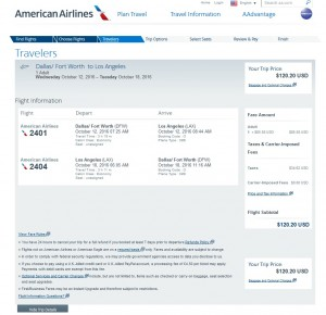 Dallas to Los Angeles: American Airlines Booking Page