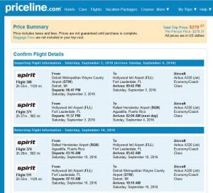 Detroit-Aguadilla, Puerto Rico: Priceline Booking Page