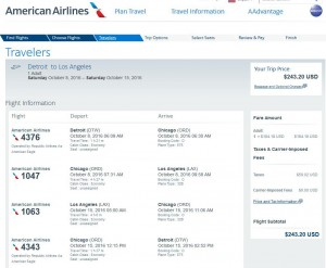 Detroit-Los Angeles: American Airlines Booking Page