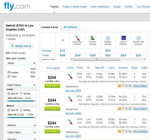 Detroit-Los Angeles: Fly.com Search Results