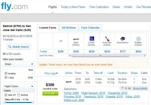 Detroit-Los Cabos: Fly.com Search Results