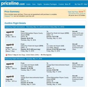 Detroit-Los Cabos: Priceline Booking Page ($320)