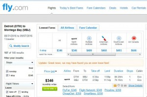 Detroit-Montego Bay: Fly.com Search Results