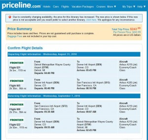 Detroit-San Francisco: Priceline Booking Page