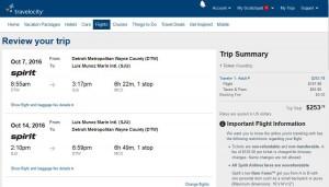 Detroit-San Juan, Puerto Rico: Travelocity Booking Page