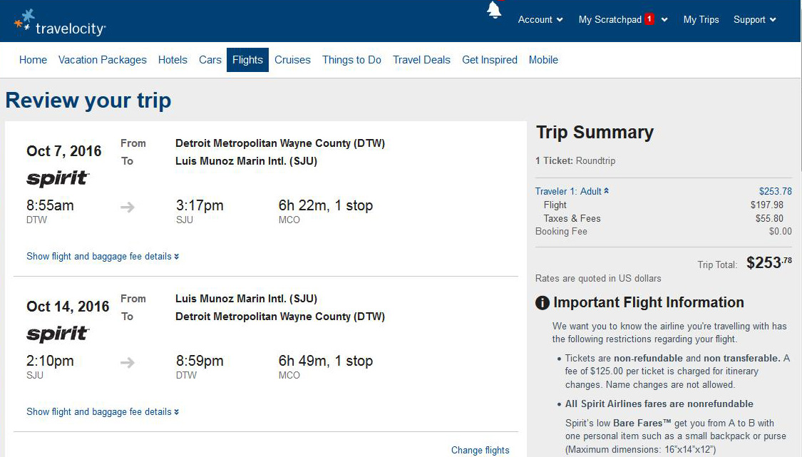 Detroit San Juan Puerto Rico Travelocity Booking Page