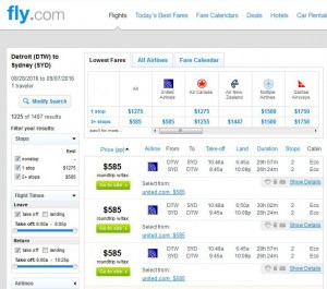 Detroit-Sydney: Fly.com Search Results