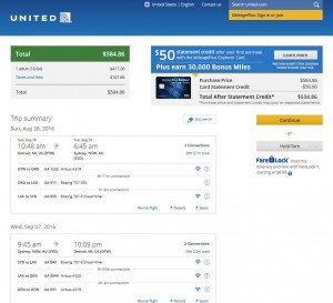 Detroit-Sydney: United Airlines Booking Page